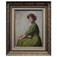 Armand LAUREYS (1867-?) La Femme En Vert c1900 Oil Painting