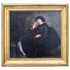 Antoine-Rambert DUMAREST (1820-1877) Portrait d'élégante1862 Oil Painting
