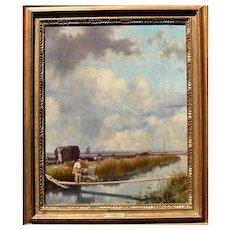 Robert FARREN (1832-1910) Cambridgeshire Fens Oil Painting