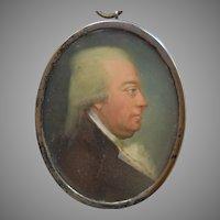 Portrait Miniature Swedish School, Dated 1797, Silver Frame.