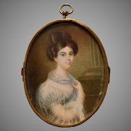 French School 1840 Portrait Miniature