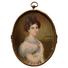French School 1840 Portrait Miniature