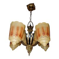 Lincoln Deco 5 Light Slip Shade Chandelier