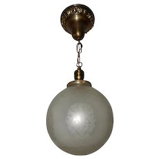 Brass Pendant with Frosted and Etched Ball Shade