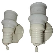 Pair Vintage Deco Bathroom Porcelain  Lighting Wall Fixtures - Red Tag Sale Item