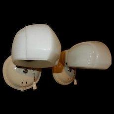 Pr. Vintage Bathroom Porcelain Wall Sconces w/Milk Glass Shades