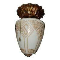 Neoclassical Decorated Cast Bronze and Glass Flush Mount Ceiling Light