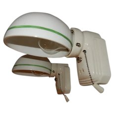 Vintage pair white Streamlined porcelain wall sconces with Period Green Pin-striped shades. Price for pair