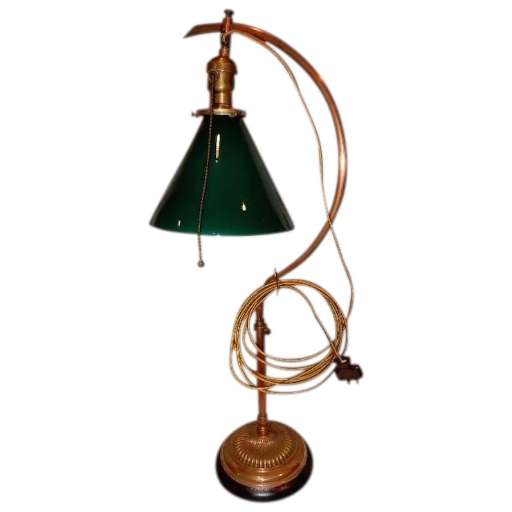 Early Adjustable Fairies Desk Lamp w Green Cased Cone Shade ...