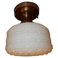 Embossed Deco Milk Glass Ceiling Light in Original Brass Fixture