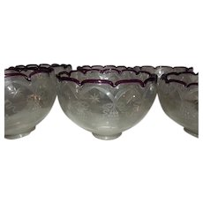 "Set of Six  2 5/8"" Fitter Wheel Cut Gas Shades Trimmed in Plum Circa 1860's---On Hold"