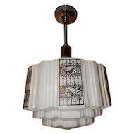 Vintage Electric Schoolhouse Fixture with Black Deco Stenciled Design