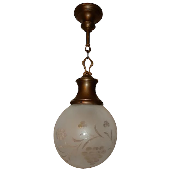 Classical Antique Brass Pendant Light With Large Star Cut Ball Shade
