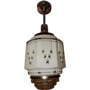 Art Deco Hanging Pendant Ceiling Light Fixture w Wedding Cake Shade------Pr. Avail.