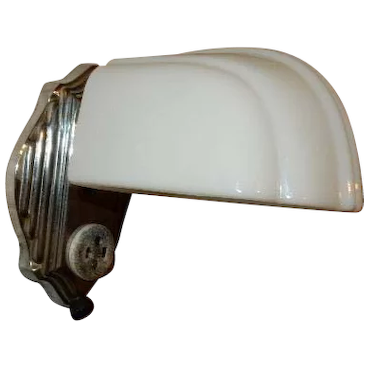 Very Art Deco Nickel Chrome Plate Streamlined Bath Wall Sconce With Original Milk Gl Shade