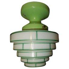 Green Striped Milk Glass Skyscraper Globe on Green Porcelain Fitter