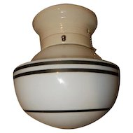 Black Striped Milk Glass Deco Globe on white Porcelain Fitter