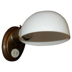 Simple Arts & Crafts Bathroom Sconce - Milk Glass Shade on Brass Fixture