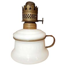 Miniature Kerosene Oil Lamp - Embossed NUTMEG Milk Glass & Brass Finger Holder