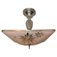 Mid-century Pink Glass Square Art Deco Light Fixture Ceiling Chandelier Pendant