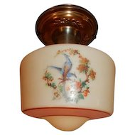 Brass Embossed Flush Mount  Fixture w Vintage Shade with Birds in Persimmon Tree