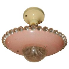 Art Deco Flush Mount Ceiling Light Fixtures w Original Pink Shade