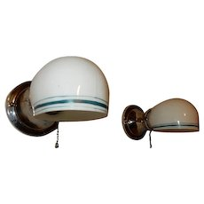 Vintage pair Nickel Chrome wall sconces with Period Teal Green Pin-striped shades. Price for pair
