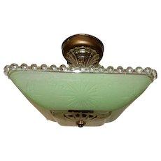 Art Deco Flush Mount Ceiling Light Fixture w Original  Jadeite Green Shade-----On Hold