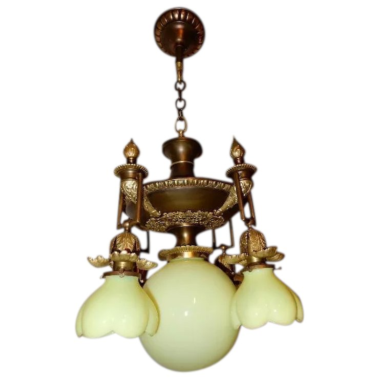 5 Light Cast Bronze Art Nouveau Chandelier Vaseline Opalescent Shades