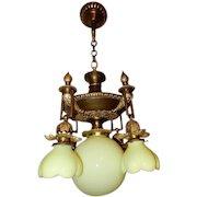 5 Light Cast Bronze Art Nouveau Chandelier Vaseline Opalescent Shades