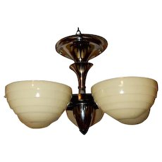 Art Deco 5 Light Cast Iron Ceiling Fixture 1930's-----------Lightolier--On Hold