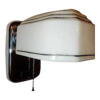 Nickel Chrome Vintage Art Deco Bathroom Kitchen Sconce w/ Orig. Pinstripe Shade