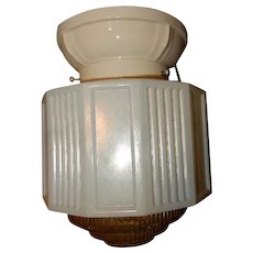 Circa 1920s Deco Bathroom Kitchen Shade on Porcelain Lighting Fixture