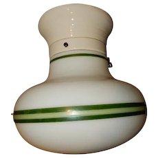 Green Striped Milk Glass Deco Globe on white Porcelain Fitter