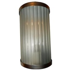 Art Deco Porch Light Sconce w/ Nickel Finish Brass Fixture