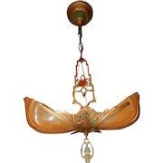 1930s Art Deco Two Light Markel Slip Shade Chandelier