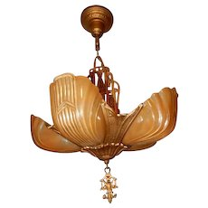 1930s Art Deco Five Light Markel Slip Shade Chandelier