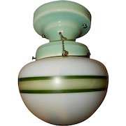 1930s Sea Foam Green Porcelain Glass Fixture with Green Stripe Shade---Efcolite