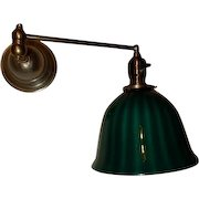 Brass Swing Arm Fairies Architect Lamp w/ Bellova Emeralite Stripped Shade