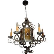 Spanish Revival Arts & Crafts Wrought Iron Hanging Chandelier Ceiling Fixture