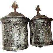 Spanish Revival Arts & Crafts Tudor Cast Metal Wall Fixtures Sconces Orig. Glass