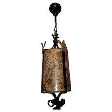 Spanish Revival Arts & Crafts Wrought Iron & Cast Bronze Pendant Ceiling Fixture