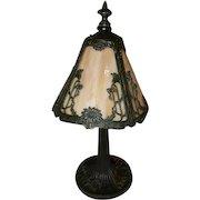 Art Nouveau Slag Glass Boudoir Bedroom Panel Table Lamp Original