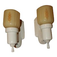Deco Bungalow Bathroom Porcelain Sconces w/ Original Custard Decorated Glass Shades