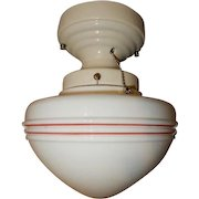 Original Art Deco Globe with Red Stripe Design on Streamlined Porcelain Fitter
