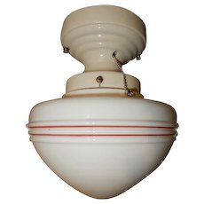 Original Art Deco Globe with Red Stripe Design on Streamlined Porcelain Fitter---On Hold