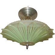 Art Deco Flush Mount Ceiling Light Fixture w Original Green Sunflower Shade