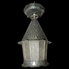 Arts & Crafts Hammered Zinc with Leaded Textured Glass Hanging Porch Light