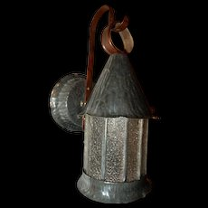 Arts & Crafts Hammered Zinc with Leaded Textured Glass Porch Light Sconce