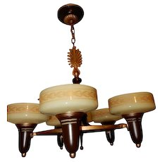 Art Deco 5 Light Slip Shade Cast Iron Ceiling Fixture 1930's-----Lightolier